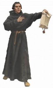 O heresiarca Lutero, antes de queimar a Bula papal de sua excomunhão, a mostra a seus sequazes.