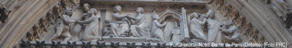 Num portal lateral da Catedral de Notre Dame de Paris, em relevo a história do monge Théophile. Este, tendo se entregue ao demônio, arrependeu-se e pediu o auxílio de Nossa Senhora. Ela veio em seu socorro, repreendeu-o pelo pecado, mas expulsou o demônio, salvando o monge (como se vê à direita).