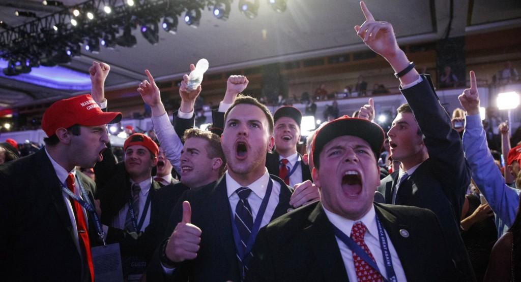 Republicanos comemoram a vitória de Donald Trump. Apesar de toda a mídia (nacional e internacional) ter previsto a derrota do candidato republicano, este venceu com folga (como se pode ver no mapa abaixo).