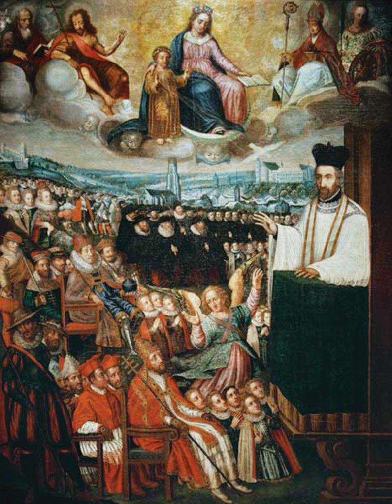 São Pedro Canísio pregando para representantes da sociedade espiritual e temporal