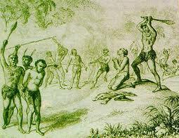 Morte de Dom Pero Fernandes Sardinha e sobreviventes da nau Nossa Senhora da Ajuda, que foram devorados pelos índios caetés (gravura de A.F. Lemaitre)
