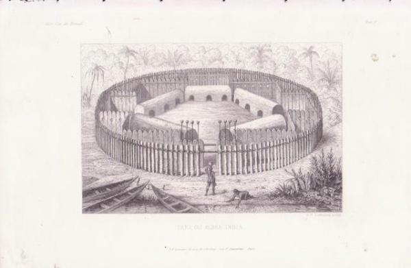 Taba ou aldeia indígena encontrada pelos primeiros colonizadores e missionários (gravura de A.F. Lemaitre)