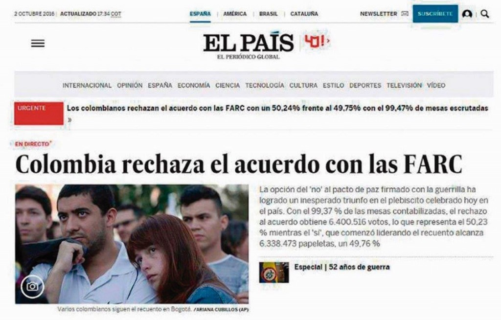 """El Pais"" de Espanha, noticia a derrota do ""SIM"" no plebiscito colombiano"