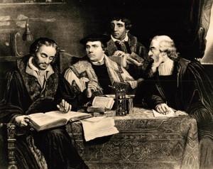 O monge apóstata Lutero (centro) trabalha com outros heresiarcas na tradução da bíblia chamada depois de protestante