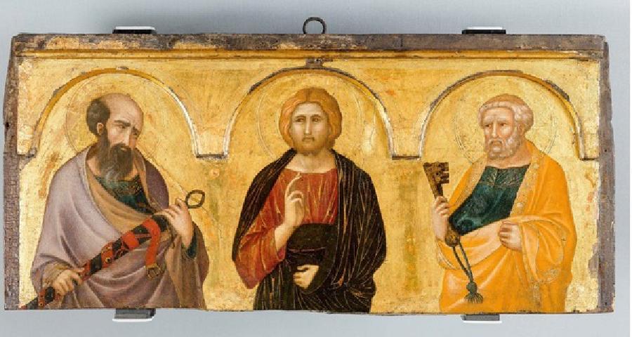 Jesus Cristo entre São Pedro e São Paulotra. Retábulo de Pietro Lorenzetti (1320), © Ferens Art Gallery.
