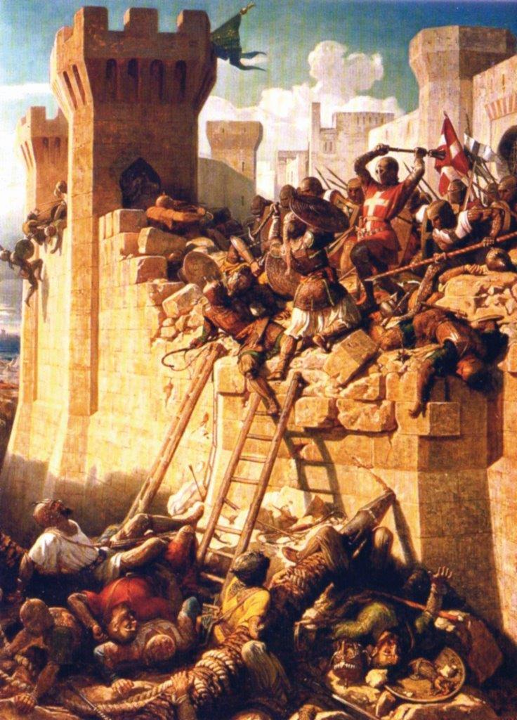 Os cavaleiros da Ordem de Malta defenderam valorosamente as muralhas do forte de Santo Elmo, ponto estratégico da Ilha de Malta, em 1565, quando os maometanos tentaram conquistar a ilha que serviria de ponte para a invasão da Europa.