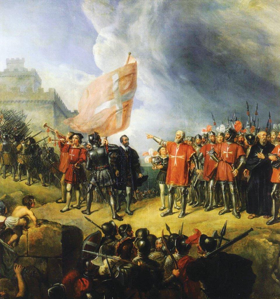 O Grão-Mestre da Ordem de Malta, La Valette, comanda os cavaleiros durante o grande cerco de Malta
