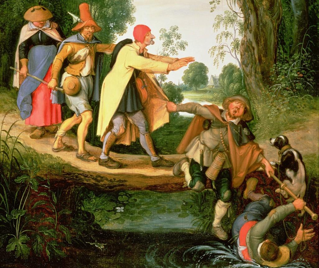 """LEGENDA: """"O cego que guia outros"""", obra de Sebastian Vrancx (1573-1647), coleção privada, Johnny Van Haeften Ltd., Londres."""