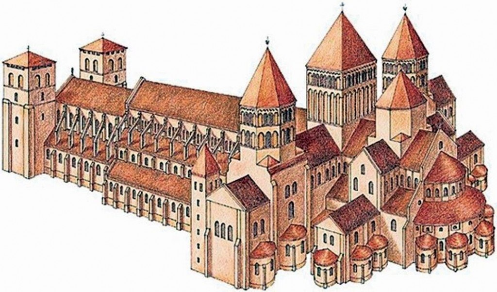 Desenho do momento auge da abadia de Cluny