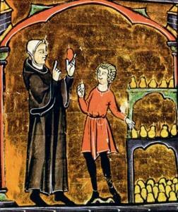 Monge dirigindo a preparação de peras