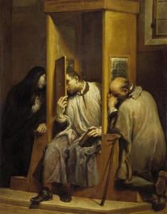 São João Nepomucemo confessando a Rainha da Boêmia (Giuseppe Maria Crespi, 1742, Pinacoteca de Turim).