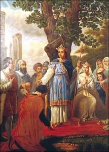 São Luís, rei de França, à sombra de um carvalho no bosque de Vincennes, onde ouvia as queixas ou pedidos de seus súditos de qualquer condição, e nessa ocasião mais especialmente os mais desprovidos!
