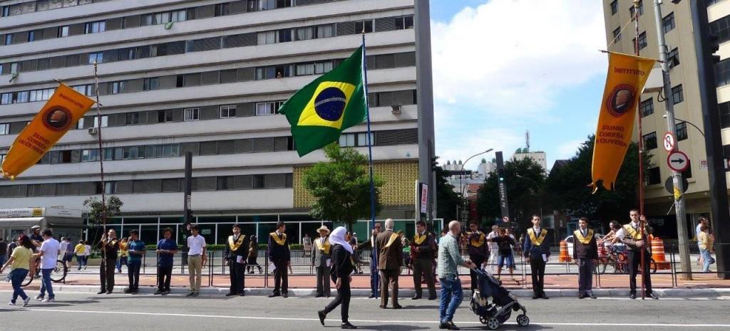 """""""Nossa bandeira verde e amarela, sem foice e martelo"""""""