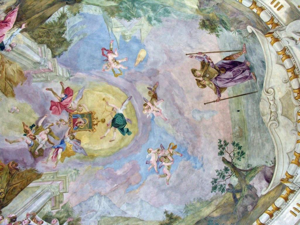 No teto da Igreja de Nossa Senhora do Bom Conselho (em Bockstein, Áustria) representação da transladação da imagem
