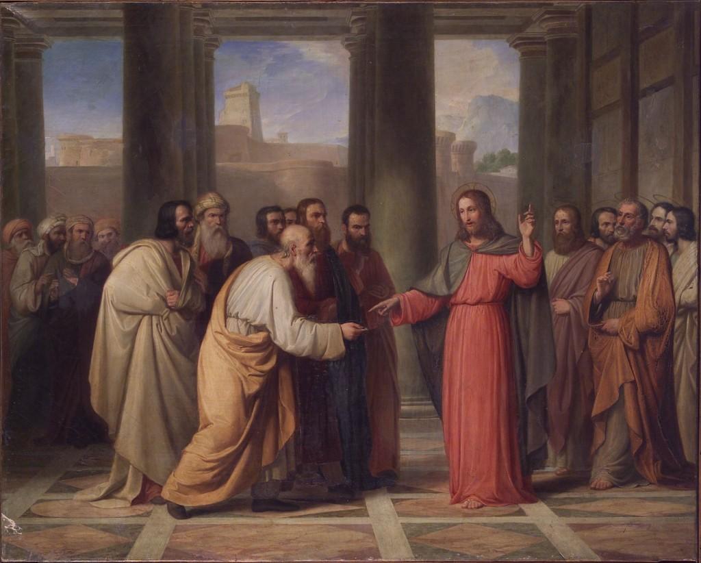 Jesus entre os escribas e fariseus. Obra de Achille Mazzotti (1844)