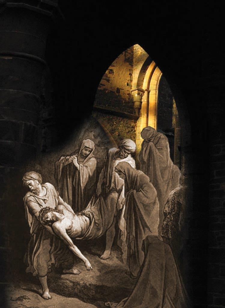 Em Lourdes, a XIV Estação da Via Crucis, Nosso Senhor Jesus Cristo é colocado no Sepulcro