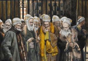 Gravura representando fariseus e saduceus conspirando a morte de Nosso Senhor