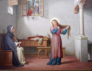 Catarina corta seus cabelos para evitar o casamento -- Obra de Niccolo Franchini, 1769. Santuário Casa de Santa Catarina de Siena.