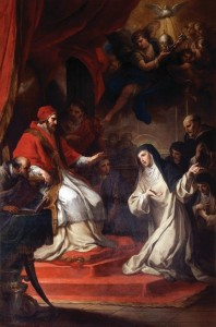 Santa Catarina exorta o Papa Gregório XI a voltar a Roma -- Obra de Sebastião Conca, séc. XVIII.