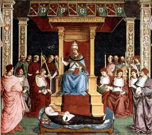 O Papa Pio II canoniza Santa Catarina de Siena -- Afresco do séc. XVI, de Piccolomini Library. Duomo de Siena.