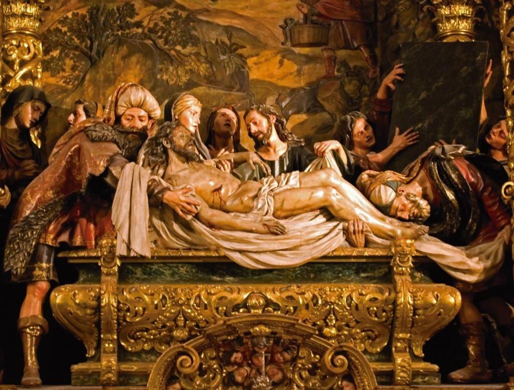 Detalhe do altar do Sepultamento de Jesus, Igreja da Caridade, em Sevilha (Espanha)
