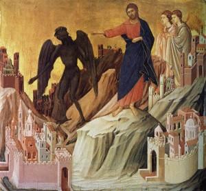 O demônio tenta Nosso Senhor - Duccio di Buoninsegna, séc. XIII. Frick Collection (Nova York).