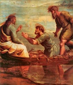 Nosso Senhor com São Pedro e Santo André durante a pesca milagrosa