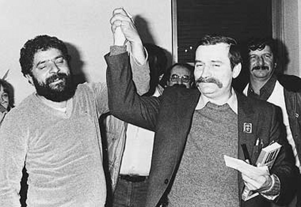 Lula com Walesa quando ambos eram sindicalistas