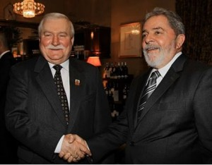 O ex-presidente Polonês, Walesa, com o ex-presidente Lula