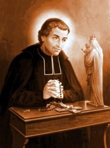Pintura de São Luis Grignion de Montfort rezando o Rosário