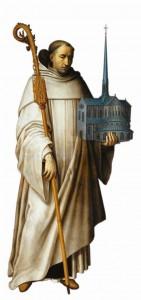 Representação clássica de São Bernardo com uma maquete da Igreja