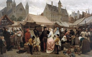 Feira em Gante na Idade Média - Félix de Vigne (1806-1862). Musée des Beaux arts, Gante, Bélgica