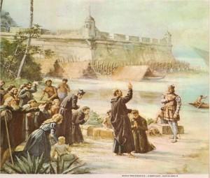 O Pe. Manuel da Nóbrega, abençoando as tropas lusas que, sob o comando de Estácio de Sá, partiam para expulsar os invasores franceses da Baía da Guanabara. A seus pés, ajoelhado, vemos o Pe. Anchieta.