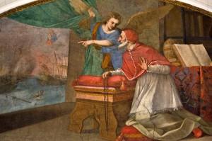 Quadro representando a visão que São Pio V teve da vitória de Lepanto