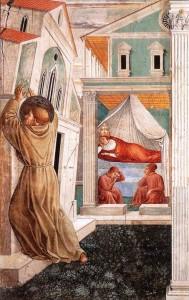 Sonho do Papa Inocêncio III, no qual se vê São Francisco sustentando a Igreja - Benozzo Gozzoli, séc. XIV. Capela na igreja franciscana de Montefalco, Perúgia (Itália)