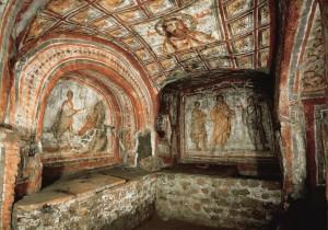 Túmulo de cristãos na catacumba de Santa Priscilla, em Roma