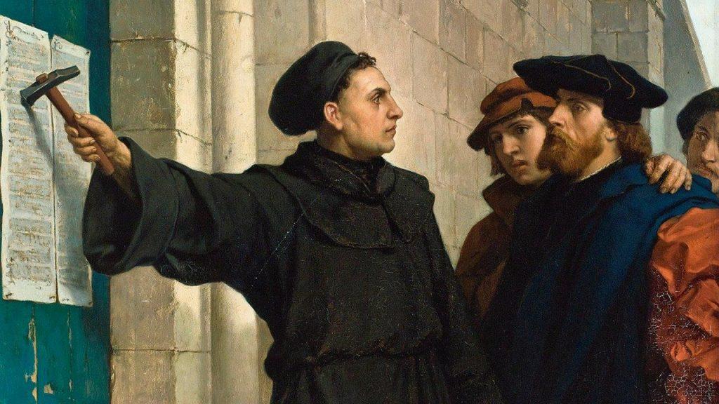 Lutero fixa as suas 95 teses - Ferdinand Pauwels (1830-1904). Museu de Eisenach, Wartburg (Alemanha)