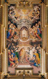 Adoração à Eucaristia - Agostino Ciampelli, 1614. Sacristia da Igreja Il Gesú, em Roma.