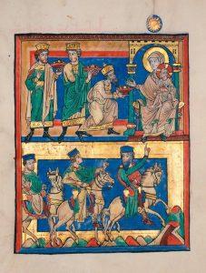 Iluminura dos Reis Magos, 120. Manuscrito que se encontra na Badische Landesbibliothek, Karisruhe, Alemanha.