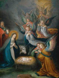 """Nossa Senhora, São José e os Anjos em adoração - Atribuído a Cornelis de Baellieur """"o velho"""", séc. XVII. Coleção particular."""