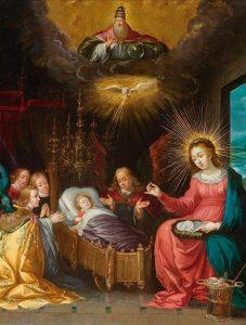 """Nossa Senhora, os Anjos e a Santíssima Trindade - Cornelis de Baellieur """"o velho"""", séc. XVII. Coleção Particular."""