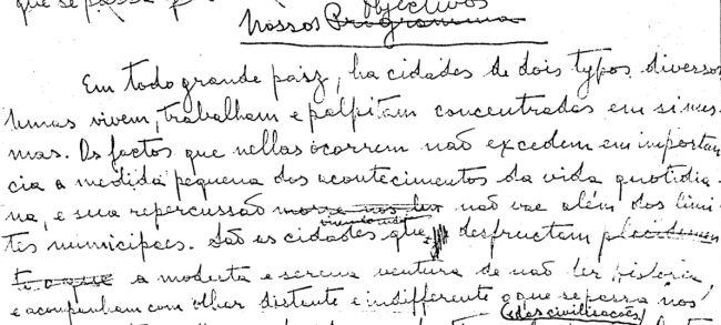 Foto do inicio do manuscrito deste artigo, redigido de próprio punho por Plinio Corrêa de Oliveira em 1951.