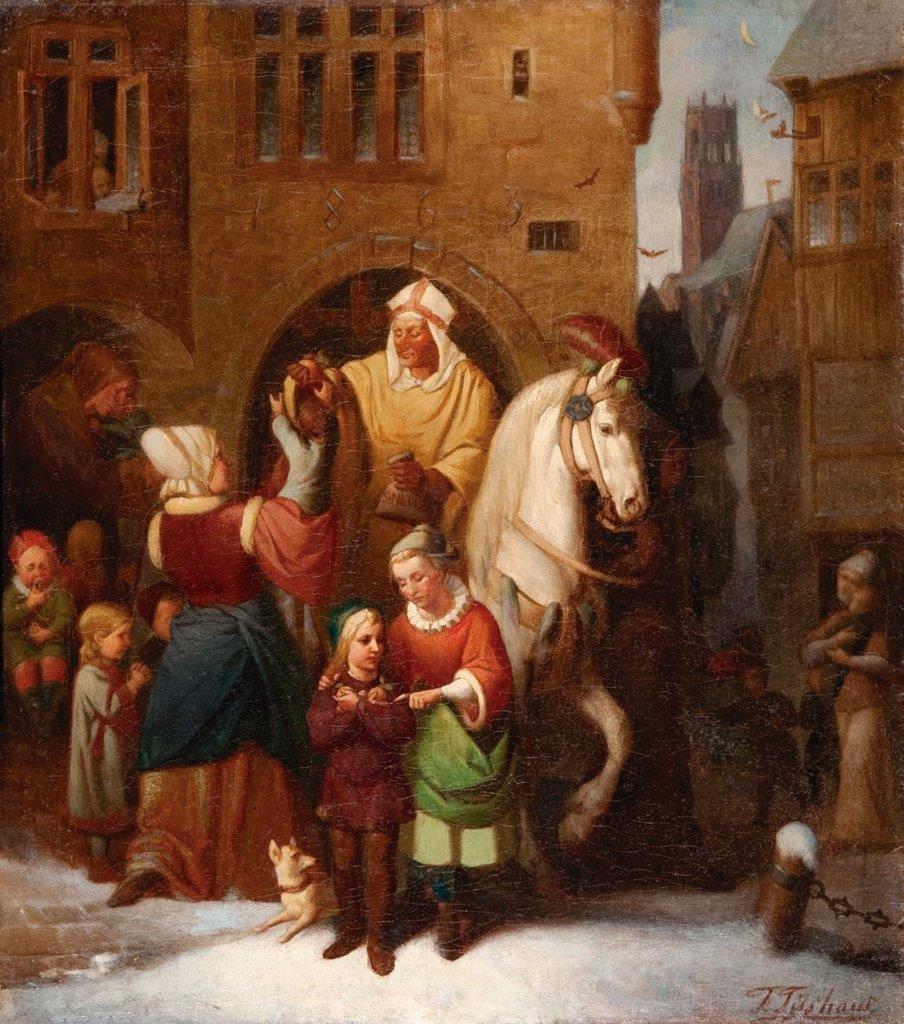 São Nicolau entrega presentes às crianças - Pintura de Fritz Tüshaus (1832-1885). Stadtmuseum, Münster (Alemanha).