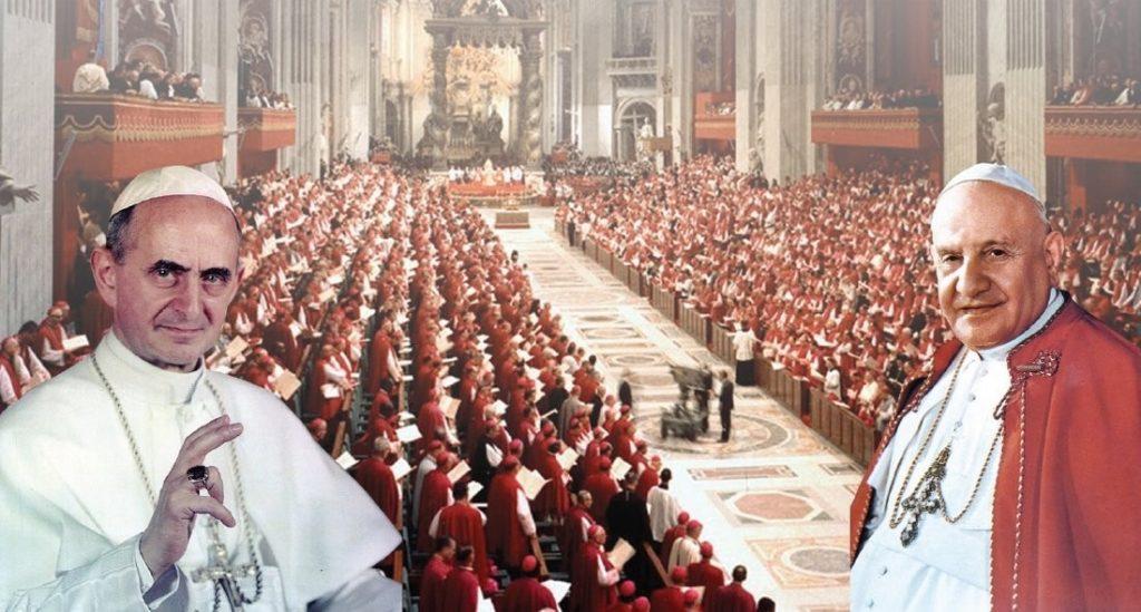 Concílio Vaticano II e os dois Papas da época, João XII (à dir.) e Paulo VI (à esq.)