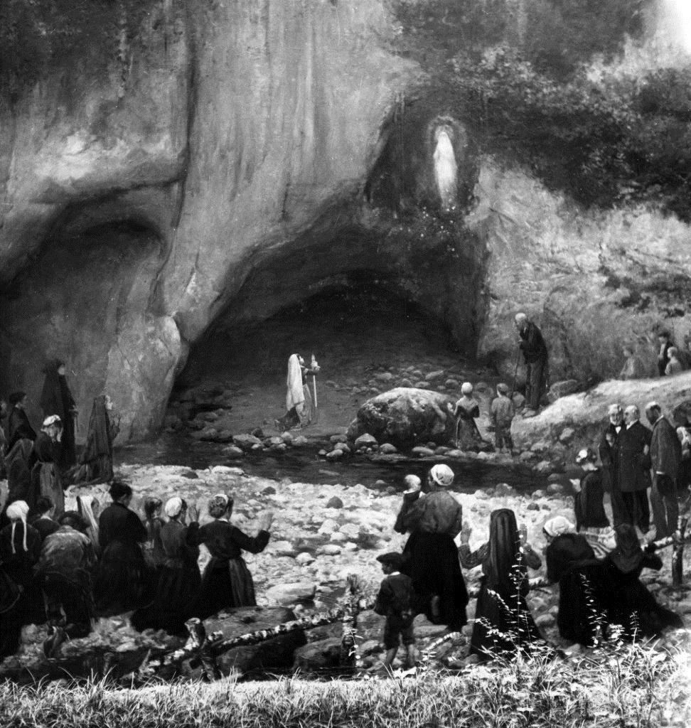Representação de uma das aparições de Nossa Senhora a Santa Bernadette