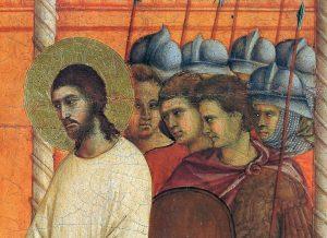 Jesus preso pela soldadesca (La Maestà, detalhe) Duccio di Buoninsegna, séc. XIV. Museo dell'Opera del Duomo, Siena.
