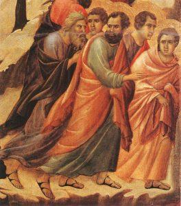 Fuga dos Apóstolos no Horto (La Maestà, detalhe) Duccio di Buoninsegna, séc. XIV. Museo dell'Opera del Duomo, Siena.