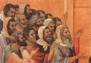 Jesus diante de Anás (La Maestà, detalhe) Duccio di Buoninsegna, séc. XIV. Museo dell'Opera del Duomo, Siena.