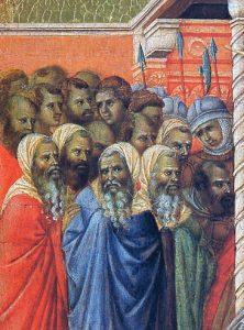 O Sinédrio confundido pelo silêncio de Jesus (La Maestà, detalhe) Duccio di Buoninsegna, séc. XIV. Museo dell'Opera del Duomo, Siena