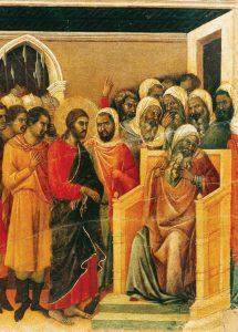 Caifás rasga as vestes (La Maestà, detalhe) Duccio di Buoninsegna, séc. XIV. Museo dell'Opera del Duomo, Siena.